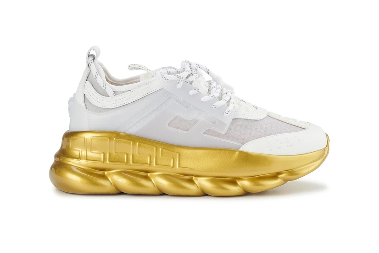 Versace Chain Reaction Sneakers in Gold