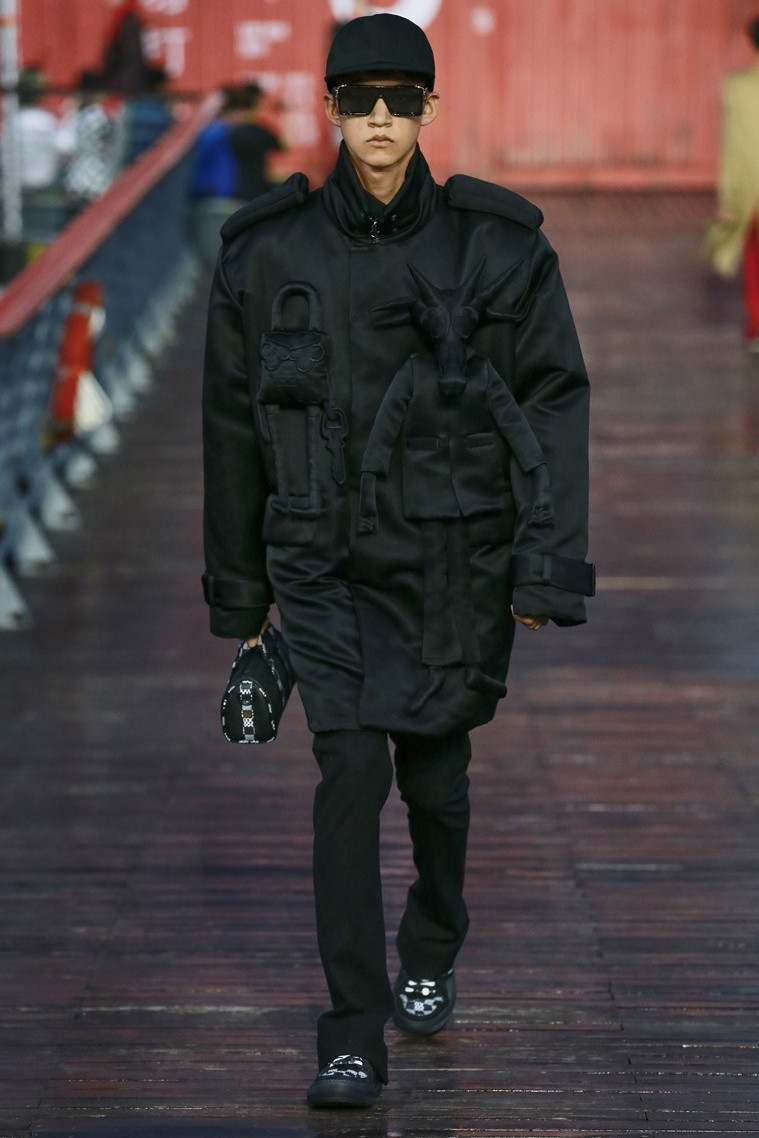 Walter Van Beirendonck Calls Out Louis Vuitton, Virgil Abloh antwerp six designer runway show ss21 spring summer 2021 copycats imitation fake sunglasses jacket attachment stuffed plush animal