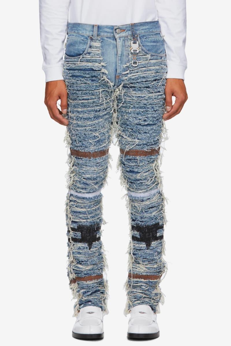 1017 ALYX 9SM Blackmeans Distressed Denim Jacket pants indigo jeans menswear streetwear spring summer 2020 collection collaboration