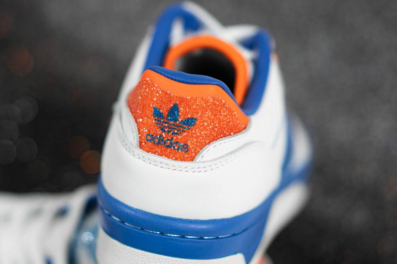 "adidas Originals x Swarovski Rivalry Low ""Cloud White/Blue/Orange"" Sneaker Release Information Drop Date Three Stripes Trefoil Crystals Diamonds Sparkle Bling FX7469"