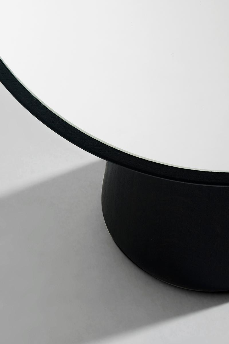 ANDEN Cameo Mirror London Design House Homeware Minimal Sustainable Sourced Solid Beech Wood matte black ebonised finish natural golden