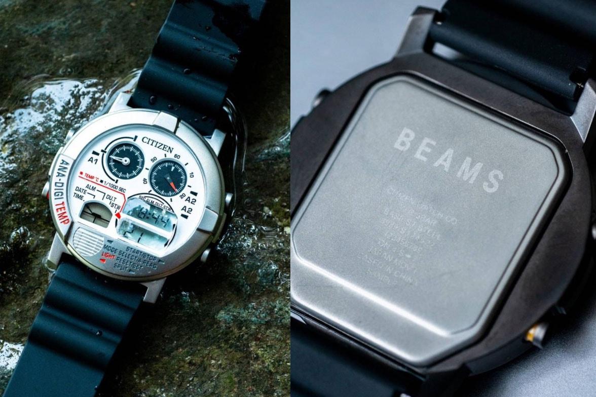 BEAMS x Citizen Round Face Ana-Digi Temp Black, Silver watches collaboration september 2020 colorways