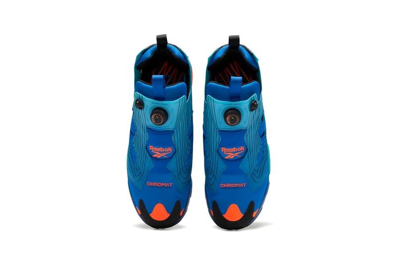Chromat x Reebok Instapump Fury Collaboration Sneaker Release Information Closer Look Drop Date New York Fashion Week FW20 Fall Winter 2020 Emerald / Alert Yellow / Glacier Blue FY0825 Vector Blue / Glacier Blue / Black FY0826 Solar Orange / Alert Yellow / Black FZ3432