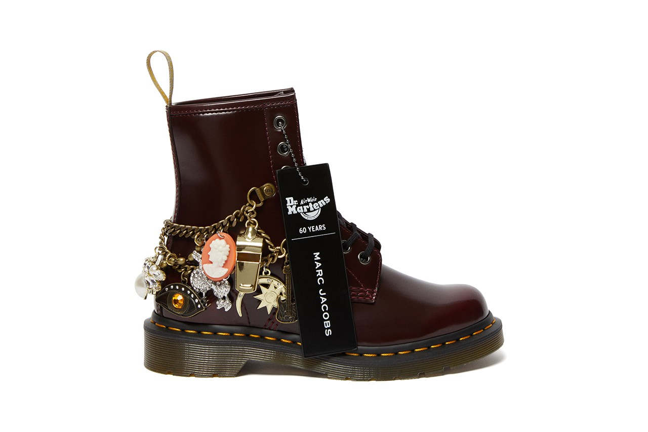 marc jacobs dr martens 1460 remastered vegan leather gold charms diamonds details buy cop purchase