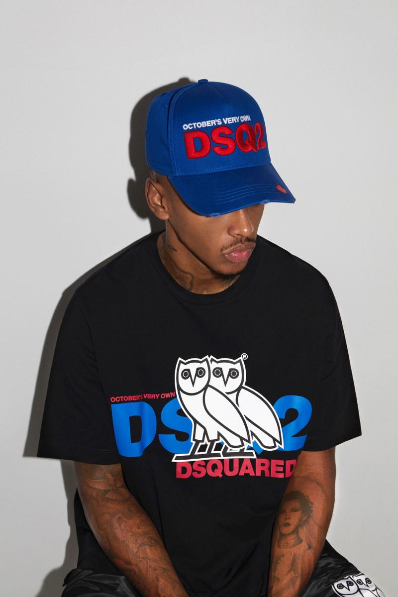 Dsquared2 OVO Octobers Very Own second collaboration apparel accessories owl blue white red black