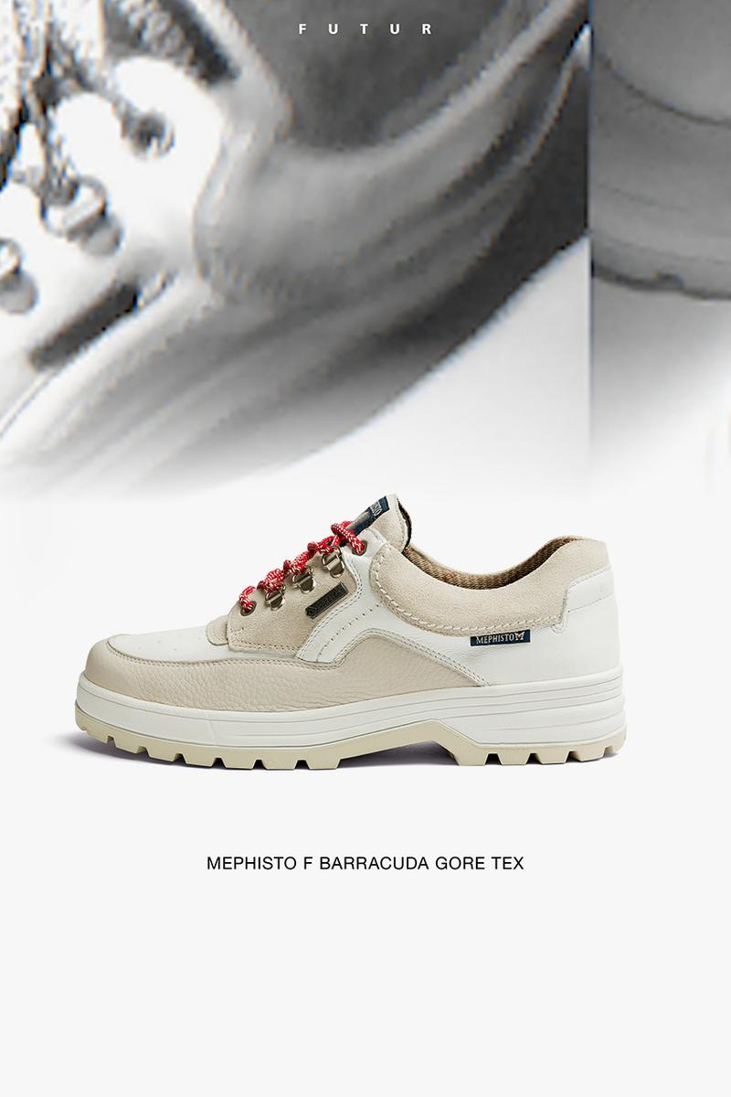 FUTUR x Mephisto F Barracuda GORE-TEX Sneaker Collaboration First Look Release Information French Traditional Footwear Drop Date White Leather Cream Suede
