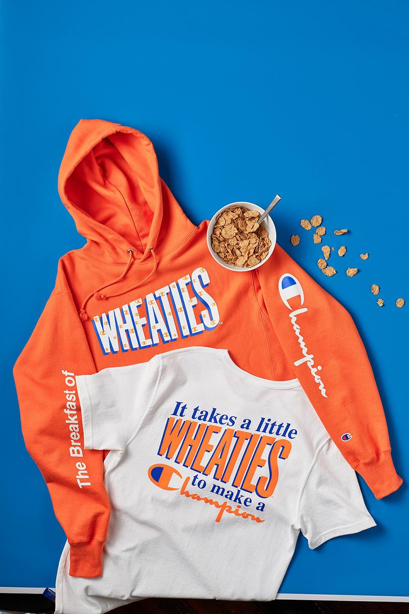 General Mills x Champion Reverse Weave Hoodies T-Shirts Cereal Capsule Collection Lucky Charms Cinnamon Toast Crunch Honey Nut Cheerios Wheaties