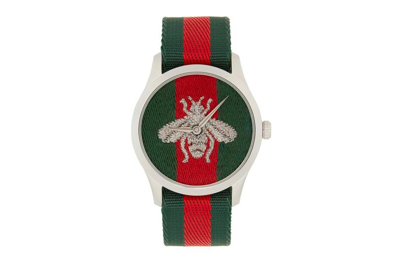 Gucci Silver G Timeless Web Bee Watch menswear streetwear spring summer 2020 collection ss20 accessories fashion luxury piece