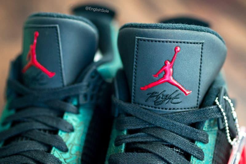 "Jordan Brand Air Jordan 4 ""Green Laser"" 1 of 68 PE Marketing Team Athletes Friends and Family F&F Limited Edition Rare Sneaker Footwear Basketball Closer Look Details Engraved Etching Design"