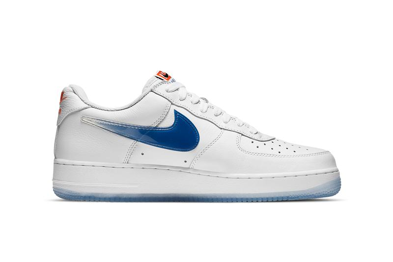 kith ronnie fieg nike sportswear air force 1 low nyc new york city white rush blue brilliant orange CZ7928 100 official release date info photos price store list buying guide
