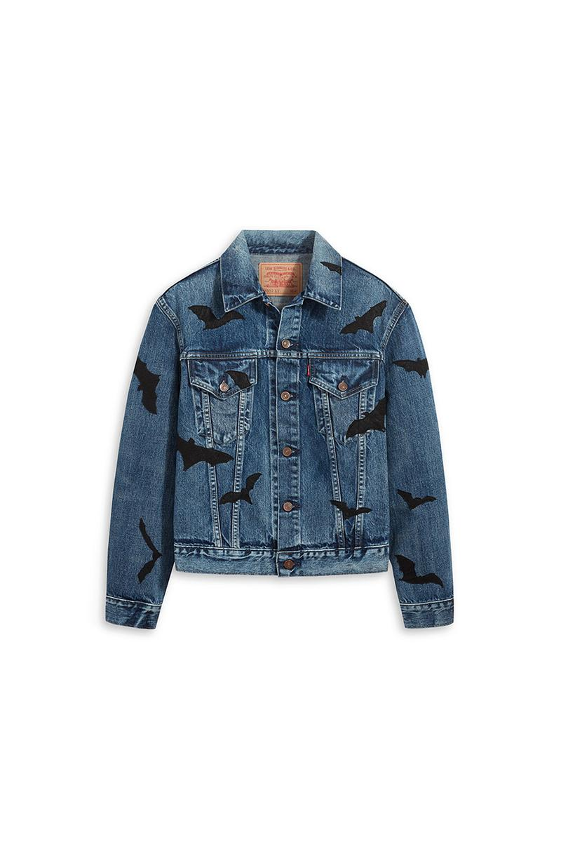 """Levi's Vintage Clothing 1961 Type III 577 Denim Jacket """"The Colony"""" Trucker Fit Halloween """"Tangled Web"""" 1984 501 Jeans Bats Cobwebs Spiders Fall Winter 2020 Exclusive Limited Edition Raffle"""