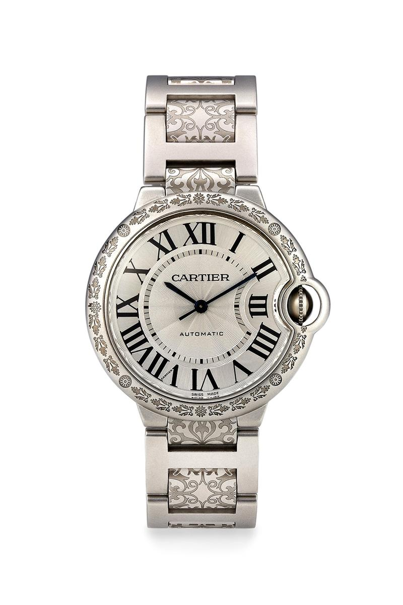 MAD Paris Cartier Ballon Bleu Watch Custom Timepiece Wristwatch Stainless Steel Engraved Design Customized Limited Edition Luxury Matte Finish Saint Petersburg Second Hand Pre-Owned Vintage