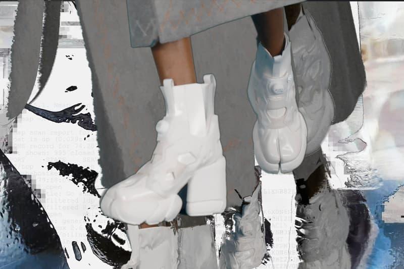 Margiela x Reebok Creative Director John Galliano Instapump Fury Tabi boot Hexalite flat version Graphlite heeled version flexibility  stability co-branding shoe launch high fashion french house american sportswear drip hybridized PFW two iconic shoe designs silhouettes