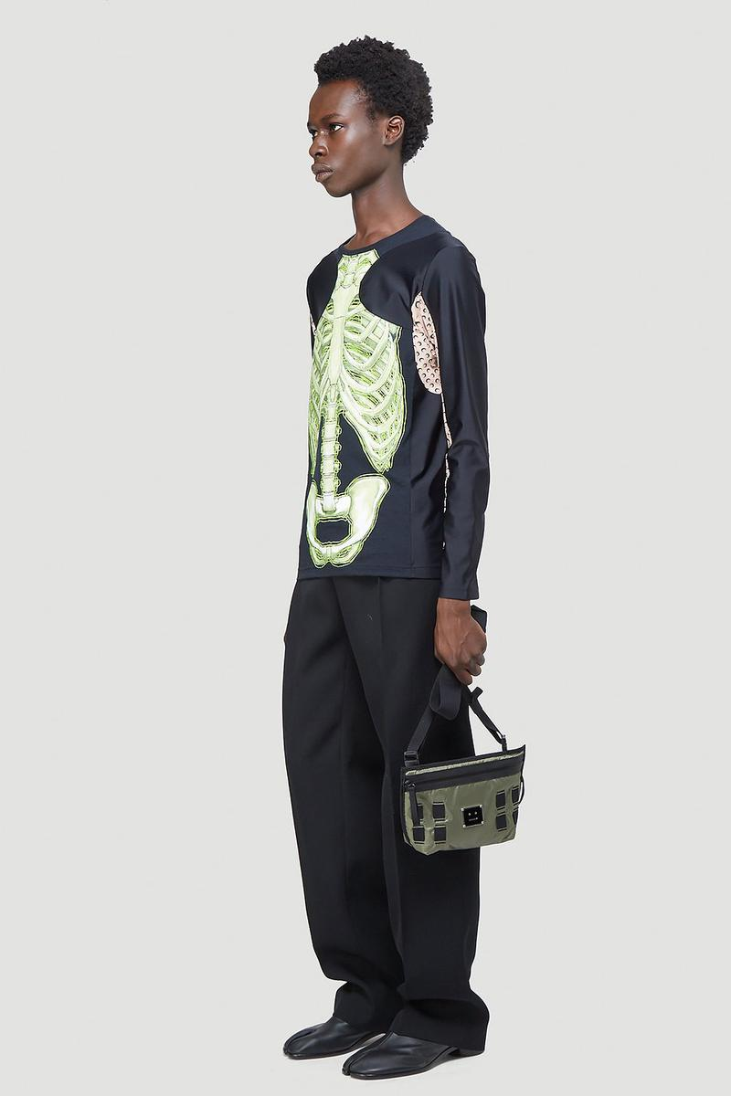 Marine Serre Skeleton Long-Sleeve T-Shirt Black Half Moon Print Tight Top Unisex LN-CC Halloween Fall Winter 2020 FW20 Neon Green Graphic Spooky