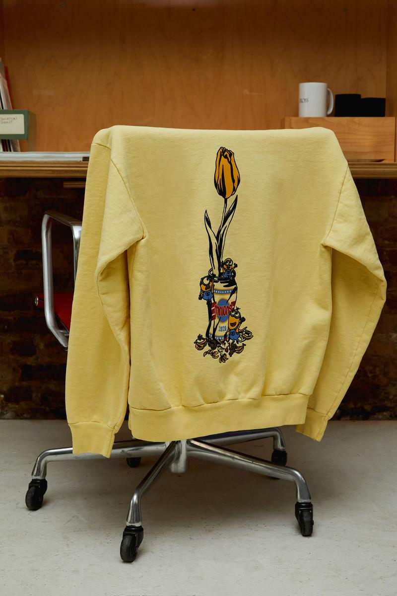 Closer look Verdy Minions Collection Hoodies T-Shrits Stickers Pins Bandanas Vick Minion Despicable Me playful design graphics flower vase