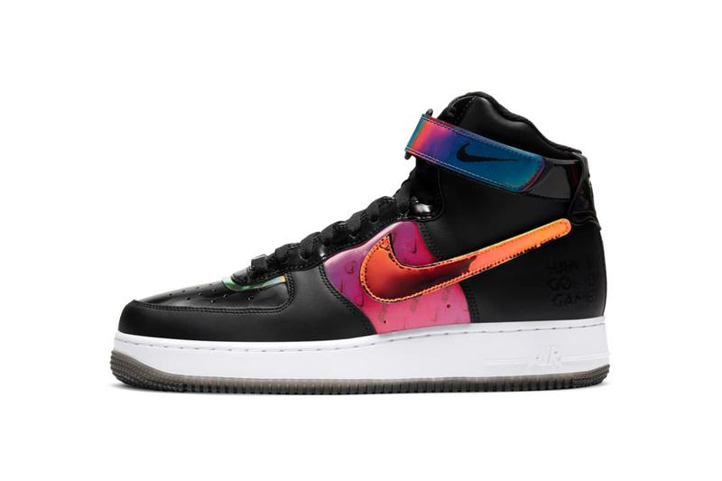 """Nike Air Force 1 """"Good Game"""" Pack Low '07 LV8 Hi LX Sneaker Release Information Drop Date Closer Look Metallic Iridescent Shiny Color Flip Hologram Reflective"""