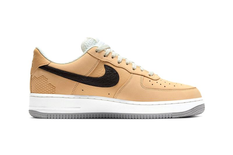 """Nike Air Force 1 """"Manchester Bee"""" DC1939-200 Sneaker Release Information British England United Kingdom Footwear Drop Date Closer First Look Embroidery Tan Suede Tumbled Leather Swoosh AF1"""