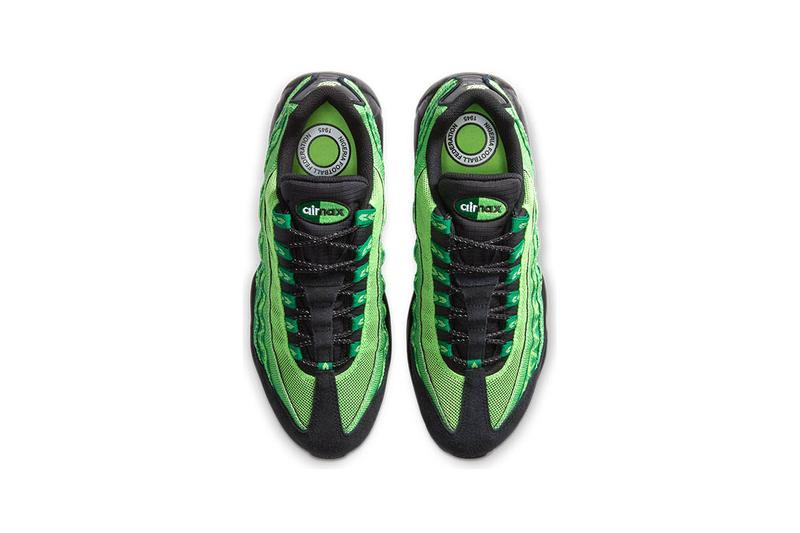 "Nike Air Max 95 ""Nigeria"" CW2360-300 ""Pine Green/Black/Sub Lime/White"" Nigerian National Football Team Sneaker Release Information Closer Look Footwear AM95 Print Pattern Detail Limited Edition"