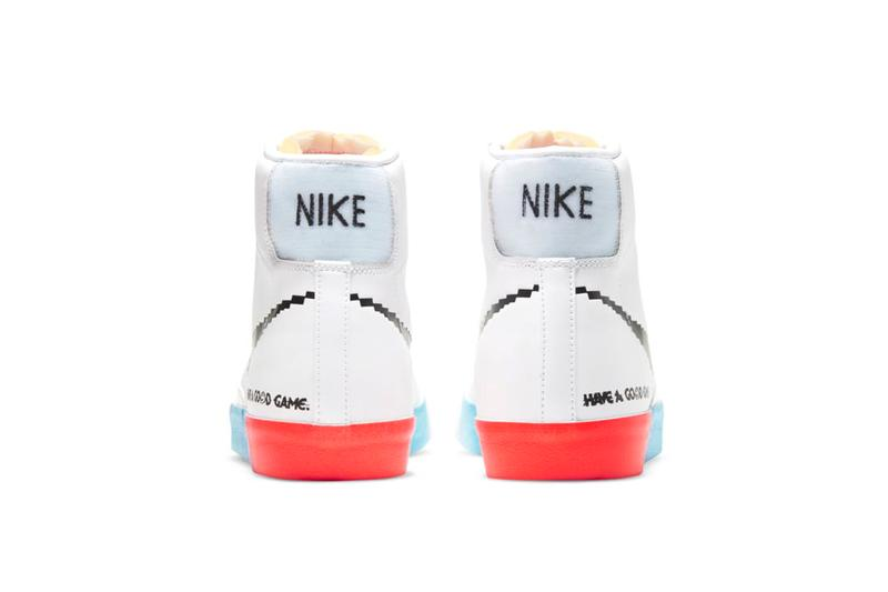 """Nike Blazer Mid '77 Air Max 90 """"Good Game"""" Womens WMNS Sneaker Release Information Computer Game 8-Bit Graphic Swoosh Rainbow Sole Unit White Leather"""