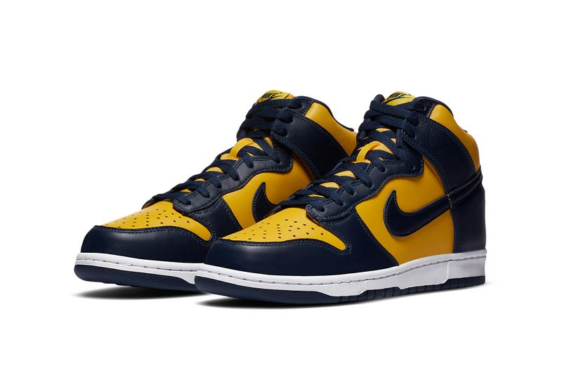 nike sportswear dunk high Michigan wolverines og varsity maize midnight navy white CZ8149 700 official release date info photos raffle price store list buying guide