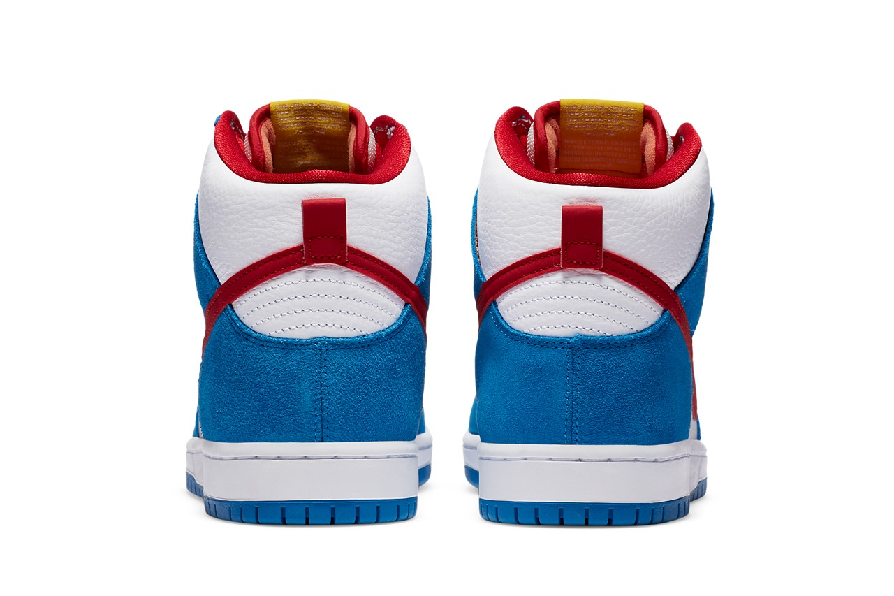 nike sb skateboarding dunk hi high doraemon light photo blue speed yellow university red white CI2692 400 official release date info photos price store list buying guide