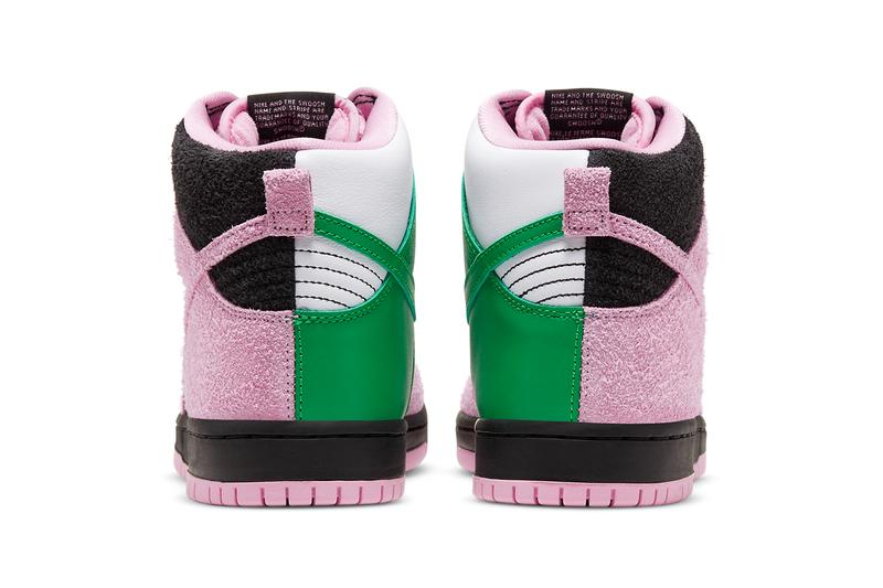 nike sb skateboarding dunk high invert celtics CU7349 001 black pink rise lucky green white official release date info photos price store list buying guide