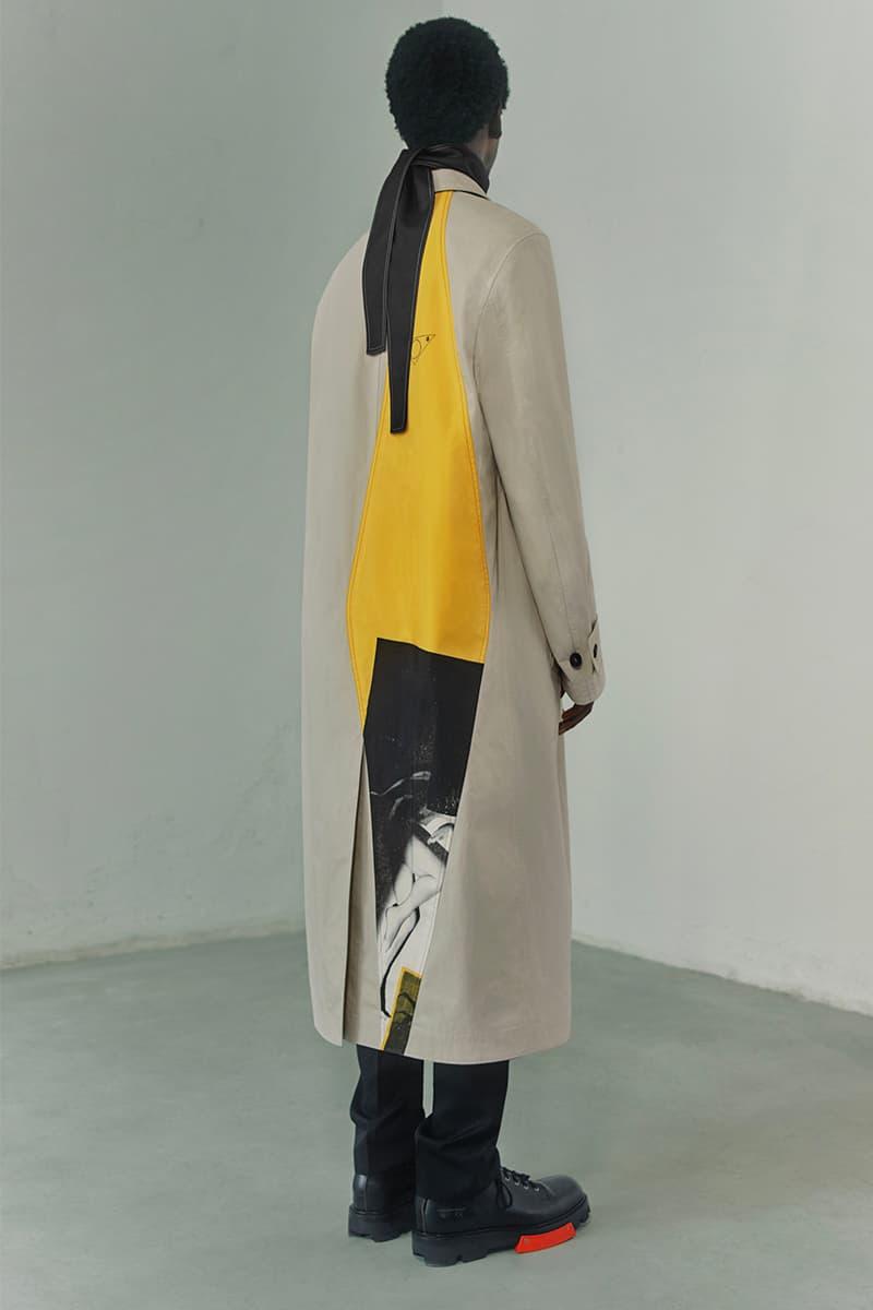 OAMC Spring Summer 2021 Lookbook military silhouettes clean fabric textures vibrant works conceptual artist John Baldessari