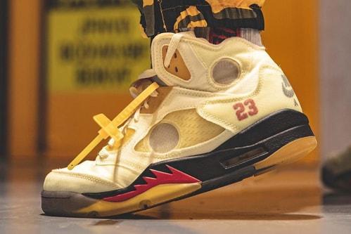 "On-Foot Look at the Off-White™ x Air Jordan 5 ""Sail"""