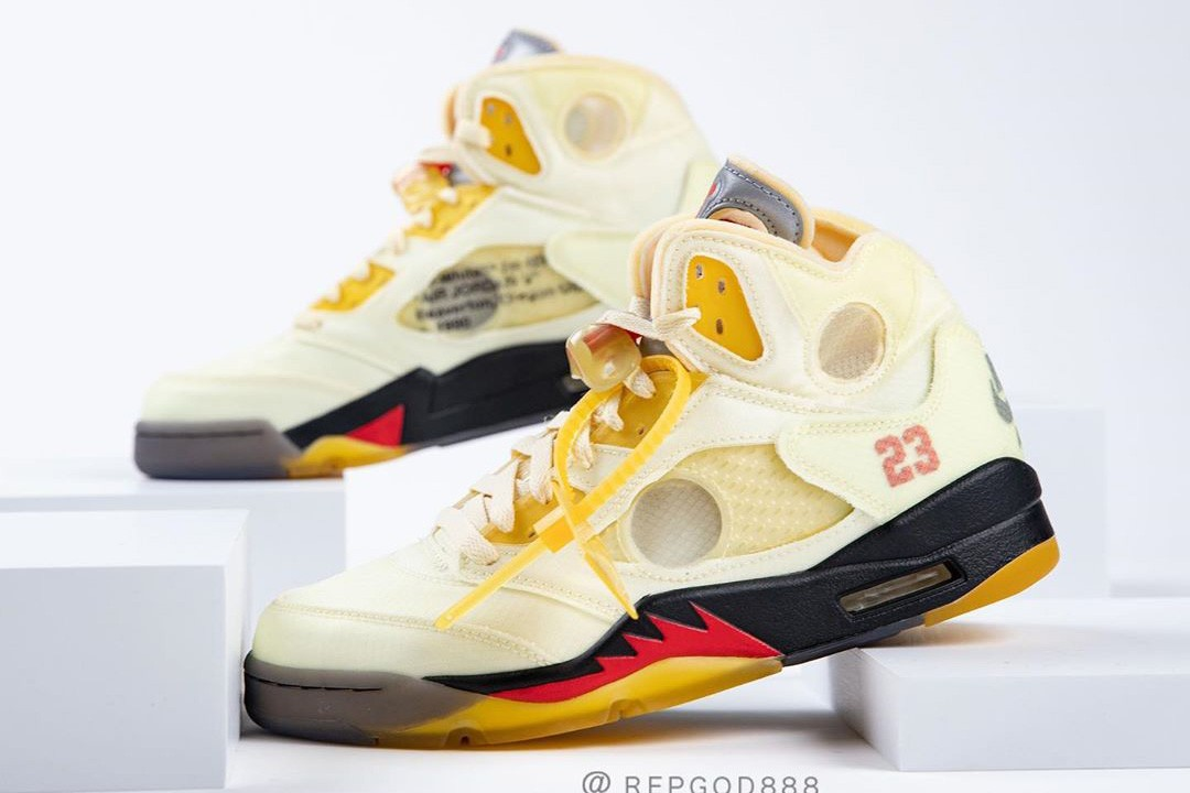 off white air jordan brand 5 sail black fire red red DH8565 100 virgil abloh first official detailed look release date info photos price store raffle on foot list buying guide