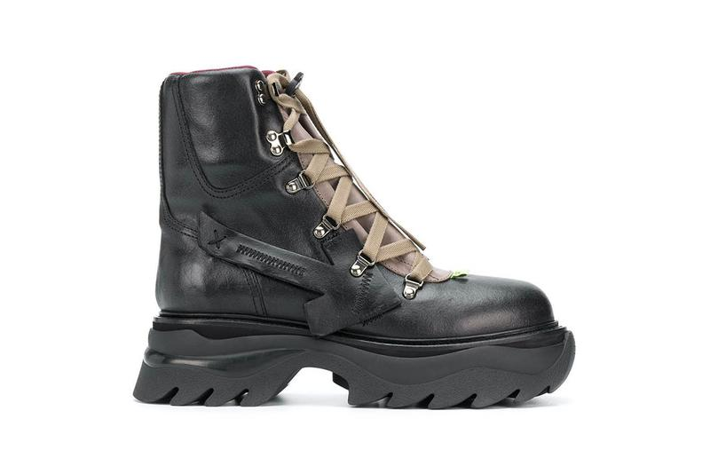 """Off-White™ Black Equipment Combat Boots Release Information First Look Chunky Boot Virgil Abloh Designer Footwear Shoe Drop Bulky Utilitarian Leather OMIA184E20LEA001 """"SHOELACES"""" Toggle"""