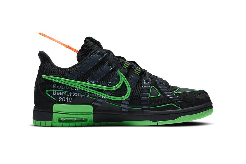 off white nike air rubber dunk black green strike virgil abloh CU6015 001 official release date info photos price store list buying guide
