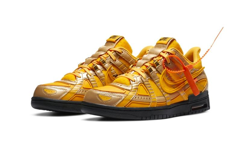 Off White Nike Air Rubber Dunk University Gold Official Look CU6015-700 Release Info Black Date Buy Price Green Strike University Blue
