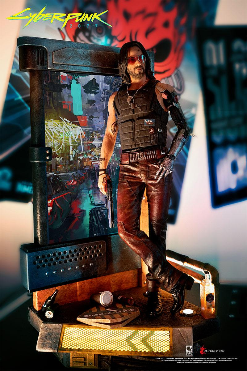 purearts model statue replica 1 4th scale cyberpunk 2077 cd projekt red keanu reeves johnny silverhand toys collectibles