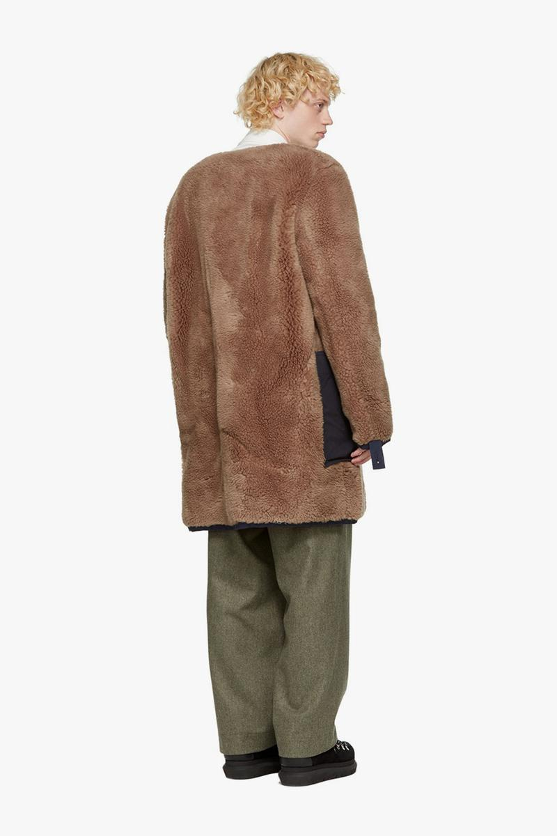 sacai sherpa jackets cotton blend khaki brown green navy off-white release information fleeces expensive high end