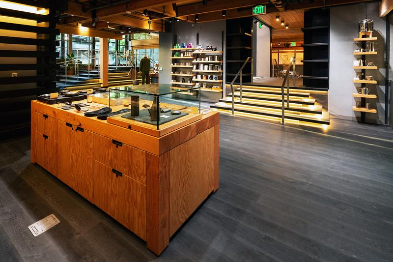 Inside Snow Peak Portland Flagship, Headquarters design layout exterior store Skylab Architecture, Portland Garment Factory Stage Plan september 11 2020 opening takibi restaurant