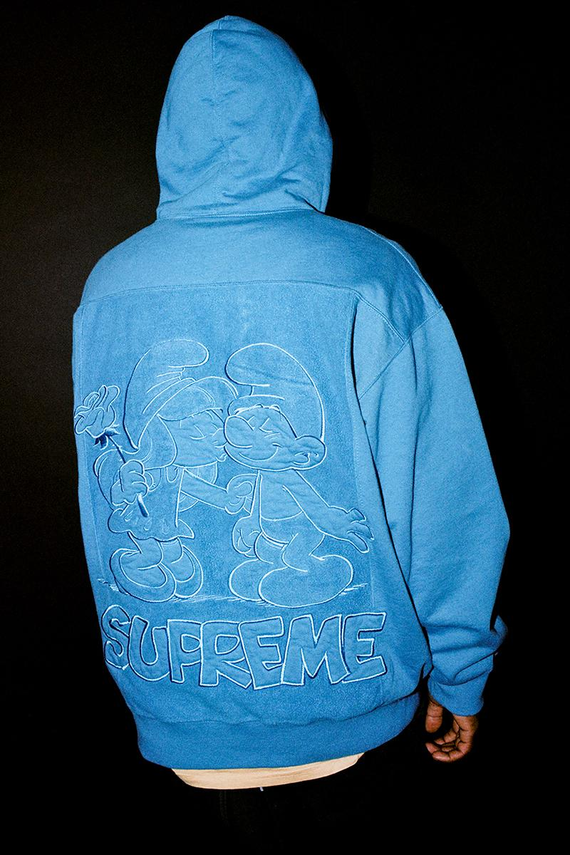 Supreme The Smurfs Fall Winter 2020 Collection Release Info Buy Price Date Leather Jacket GORE-TEX Shell Denim Trucker Sweater Hooded Pant Jeans T-Shirt Skateboard Beanie