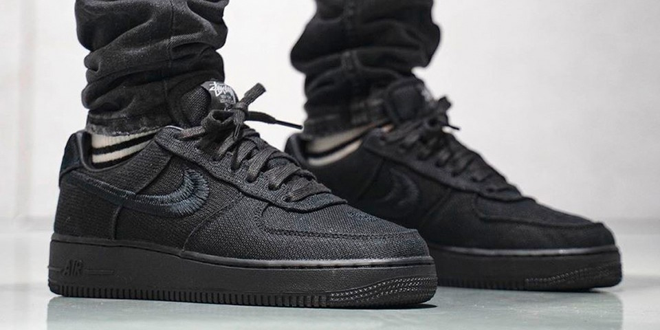 """Take an On-Foot Look at the Stüssy x Nike Air Force 1 Low """"Black"""" and """"Fossil Stone"""""""