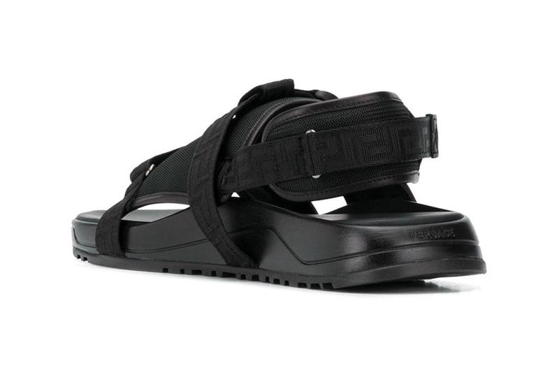 Versace release information logo strap sandals slides sliders release information where to buy farfetch
