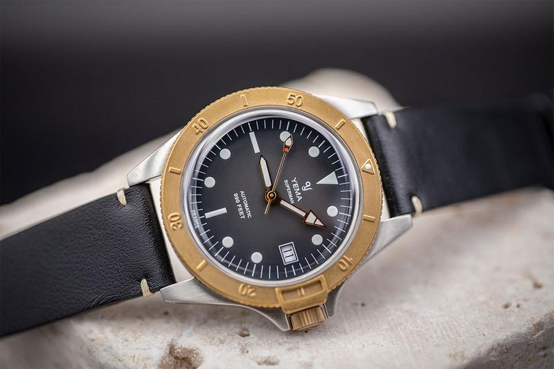 yema france french morteau in house manufacture caliber movement gmt three hand date time superman steel bronze kickstarter