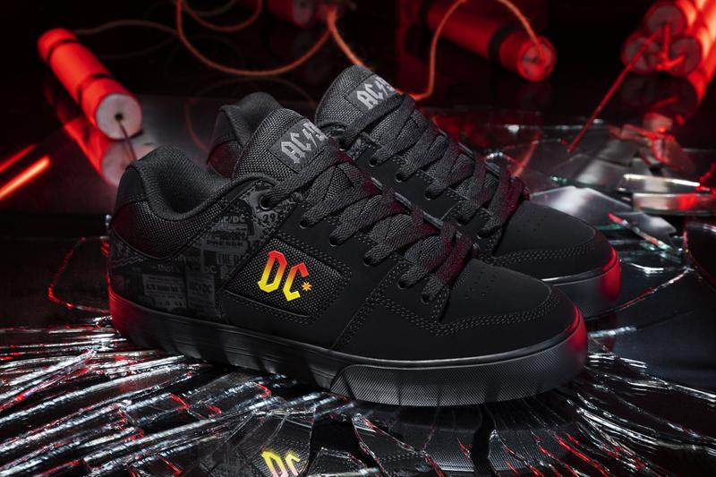 ac dc shoes back in black 40th anniversary collection capsule court graffik villain infinite kalis low mid vulc t shirt hoodie official release date info photos price store list buying guide