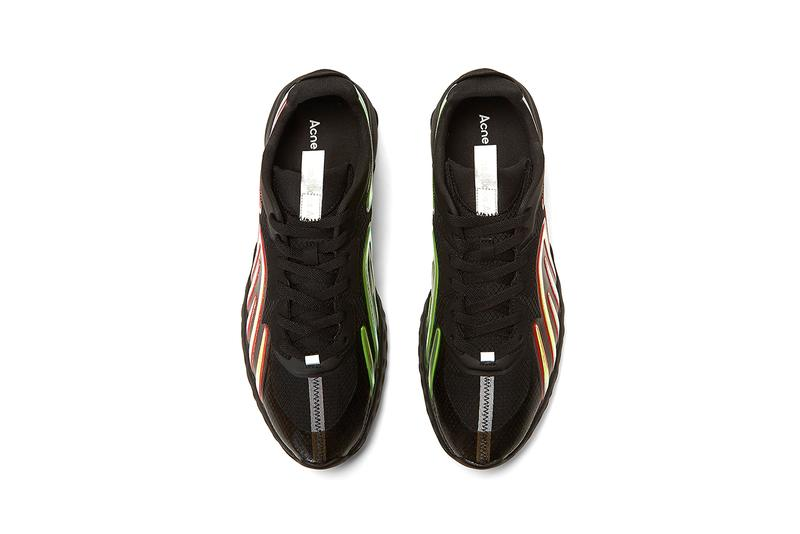 Acne Studios Buzz Mesh Sneakers Black Iridescent Panels Faux Suede 3M Tongue Tag Swedish Designer Sneaker Footwear Shoe Release Information Luxury Minimal Fashion
