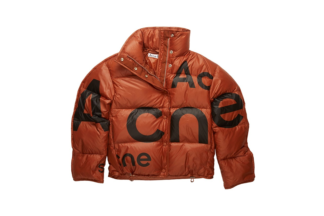 acne studios fall winter 2020 puffer jackets logo white rust orange turquoise blue details black release information