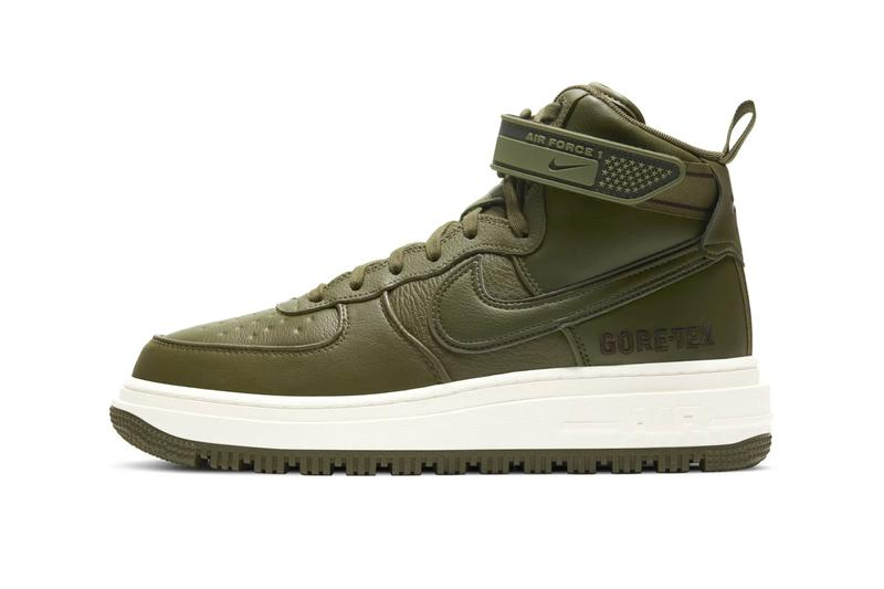 Nike Air Force 1 Boot GORE TEX Wheat Olive menswear streetwear fall winter 2020 collection autumn fw20 shoes footwear sneakers trainers CT2815 200 CT2815 201