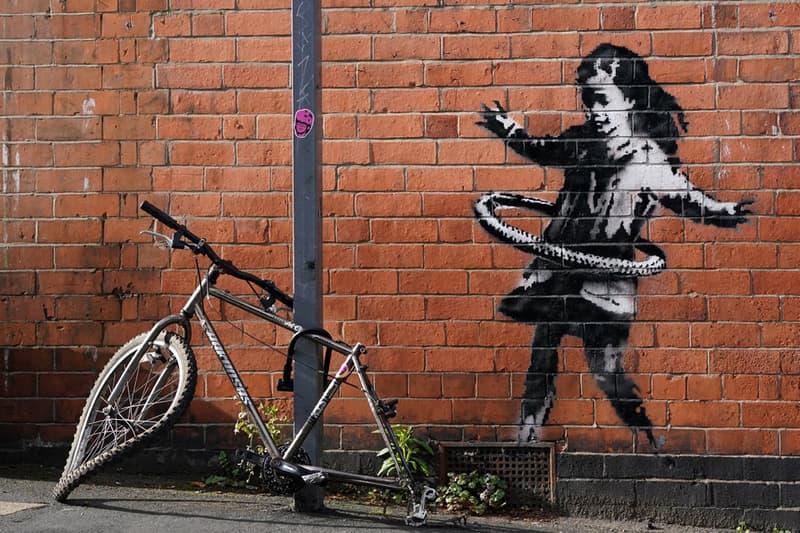 banksy hula hooping girl artwork nottingham united kingdom artwork street art