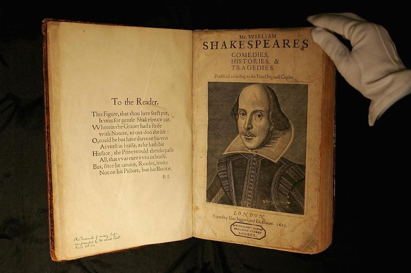 william shakespeare playwright first folio comedies histories tragedies 9 million usd auction record breaking literature