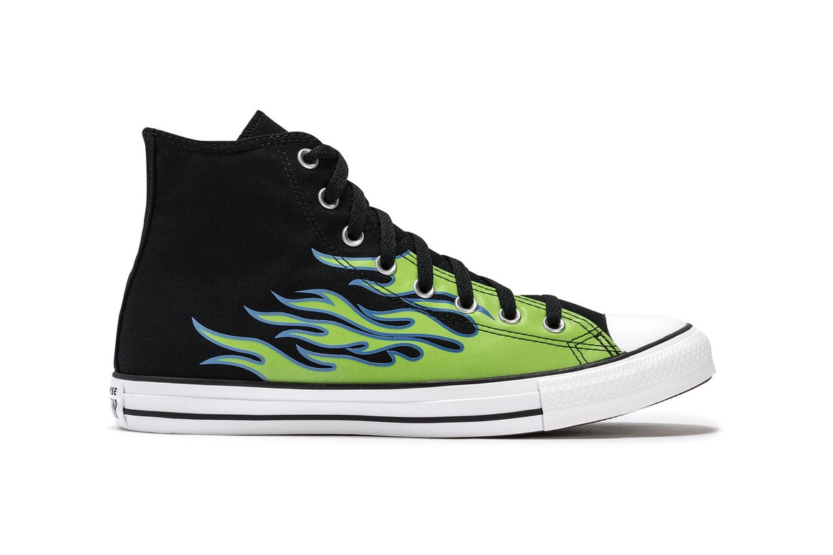 montar Electrizar Intentar  Converse Adds Neon Green Flames To Chuck Taylor All Star | HYPEBEAST