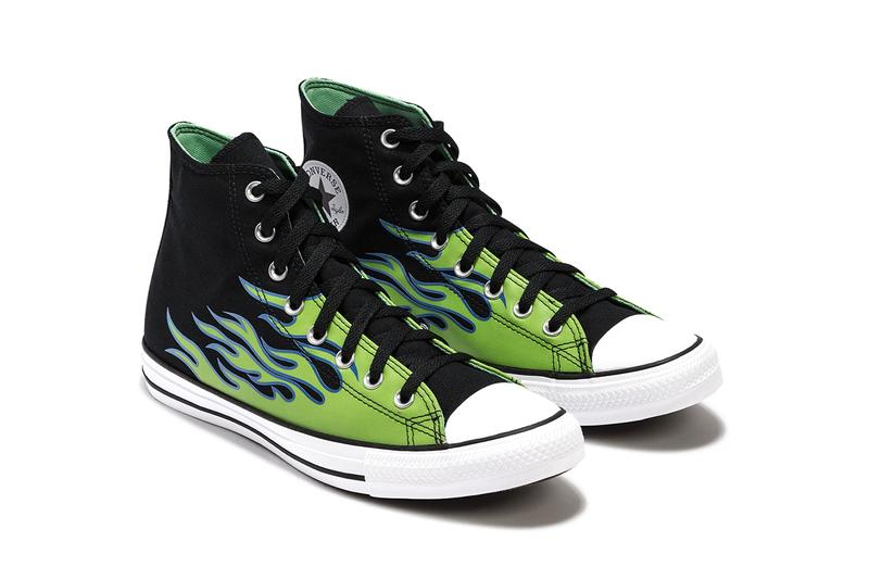 """Converse Chuck Taylor All Star """"Black/Glow In The Dark/Royal Pulse"""" Flame Motif Graphic Print Sneaker Release Information Drop Date Closer First Look HBX HYPEBEAST Footwear Shoe Trainer High Top"""