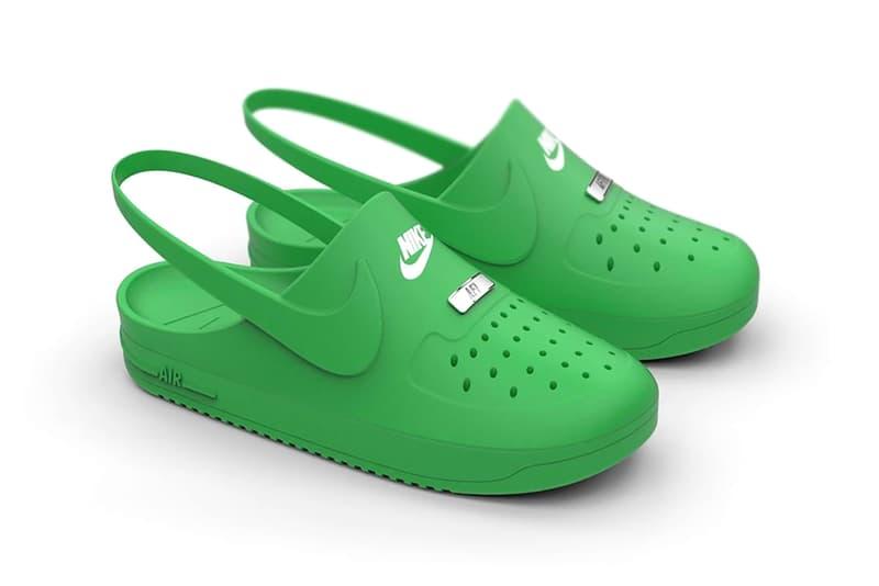 Crocs x Nike Air Force 1 Unofficial Rendering Kegan McDaniel AF1 Slip On Slide House Shoe White Green Black Swoosh Ugly Sneakers Footwear Cop Drop Custom Fake COVID-19 Coronavirus Lockdown