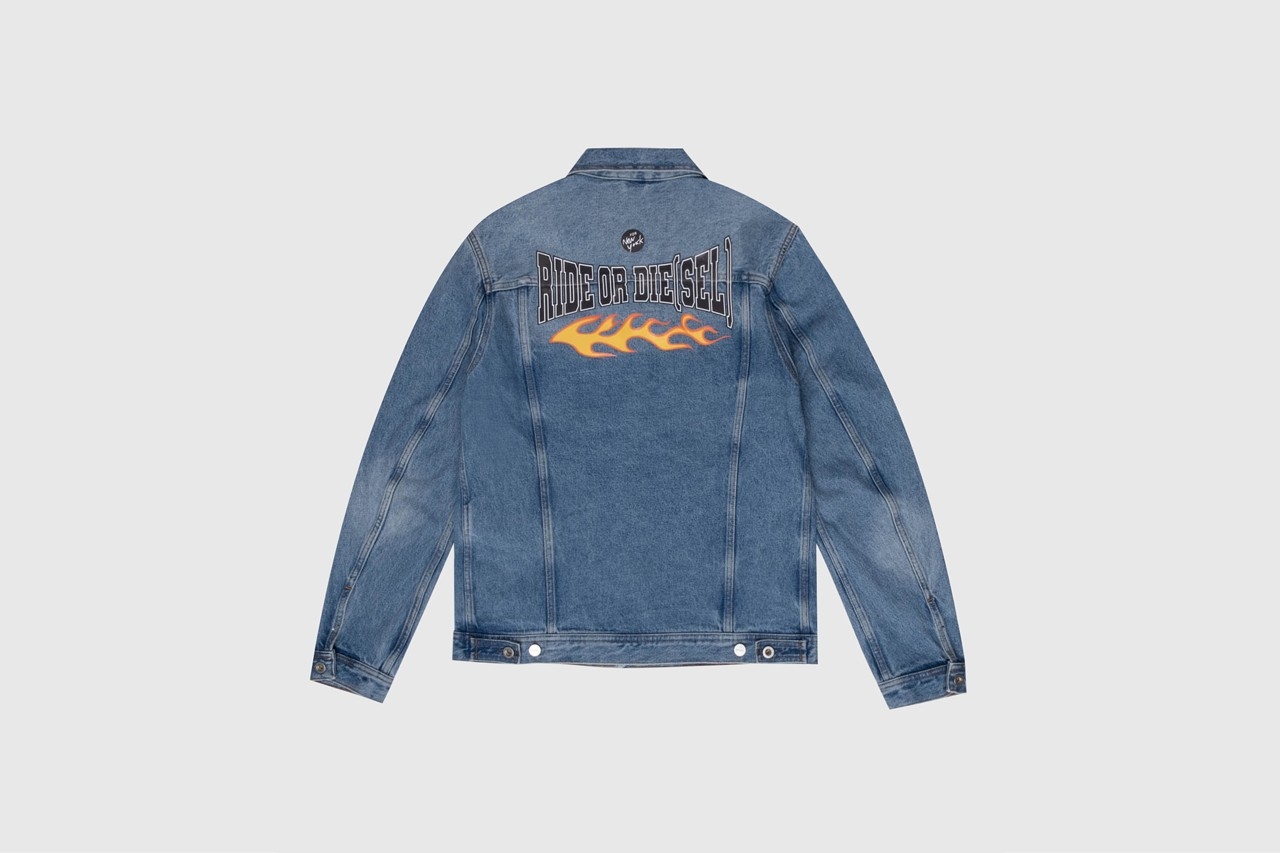 Julia Fox Evan Mock Donte Colley Fall 2020 Unforgettable Denim campaign nyc t-shirts hoodies denim jackets merch