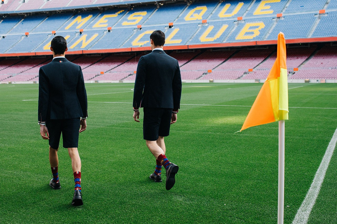 FC Barcelona Barca Foundation x Thom Browne Teaser capsule collaboration collection imagery release date info buy  fcb wool short suit, button-down cardigan, white oxford shirt, tie, scarf, socks, knit hat soccer football pebble grain folio